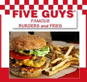 five guys hamburgers, five guys burgers